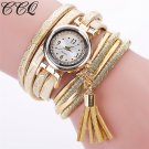 CCQ Brand Fashion Women Bracelet Watch Casual Luxury Multilayer Leather Bra