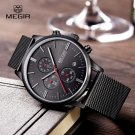 Megir Fashion Mens Business Stainless Steel Band Quartz Watches with Cale