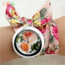 shsby New design  Ladies flower cloth wrist watch fashion women dress watch