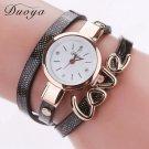 Duoya Luxury Fashion Thin Leather Bracelet Watch Women Gold Quartz Wristwat
