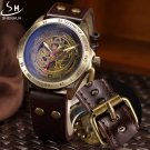 SHENHUA Retro Bronze Skeleton Mechanical Watch Men Automatic Watches Sport