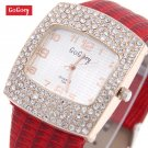 Hot Sales Gogoey Brand Rose Gold Case Leather Watch Women Ladies Crystal Dr