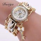 Duoya Brand Watch Women Fashion Key Luxury Gold Crystal Leather Strap Ladie