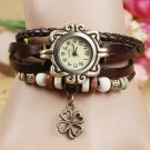 Hot Sales Vintage four leaf clover pendant Genuine Cow Leather Watch women