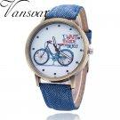 Vansvar Brand Vintage Women Bike Watch Fashion Casual Ladies Wrist Quartz W