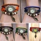 Lady watch Relogio Feminino Fashion Womens Bracelet Vintage Weave Wrap Quar