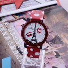 WoMaGe Eiffel Tower Watch Polka Dot Leather Ladies Watch Women Watches Cloc