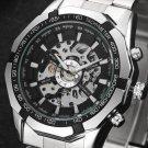 Winner Brand Men Full Stainless Steel Watch Men Skeleton Auto Mechanical Wa