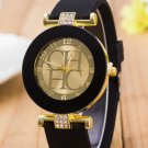 2017 New Fashion Brand Black Geneva Casual H Quartz Watch Women Crystal Sil