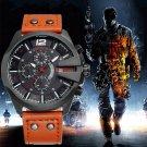 SKONE Men's Chronograph stopwatch Sport Quartz Watch Man Army Military Leat