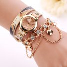 watches women Unisex Casual PU Leather Band Rhinestone Rivet Chain uartz Wa