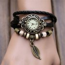 Women Watches Fashion Leather Vintage Weave Wrap Quartz Wrist Watch Bracele