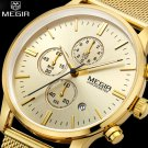 MEGIR Chronograph men's quartz watch stainless steel mesh band gold watch S