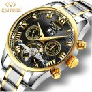 KINYUED Business Mechanical Watches Mens Skeleton Tourbillon Automatic Watc