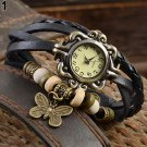 Women's Casual Vintage Multilayer Butterfly Faux Leather Bracelet Wrist Wat