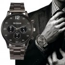 Military Watch Man Mens Watches Top Brand Luxury Black Silver Stainless Ste