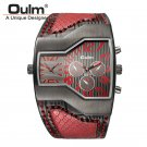 Oulm Top Luxury Brand Men Quartz Watches Double Time Show Snake Band Casual