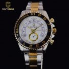 Gold Watch Men GMT Rotatable Bezel Sapphire Glass Stainless steel Band Spor