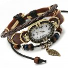 Gnova Platinum Top Genuine Leather Bracelet Watch Women Charm Leaf Butterfl