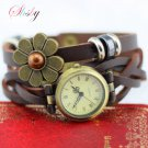 shsby  New women vintage leather strap watches flower of drip bracelet wome