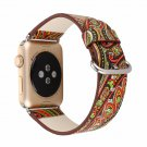 National Vintage Folk Style Floral Colorful PU Leather Watch Band Strap for