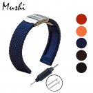 MS Silicone Watchband Diver Watch Band Rubber Watch Strap with Deployment W