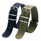 Fashion Cool Black & Army Green 20/22MM Fabric Nylon Canvas Watch Strap Ban