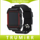 TPU Rubber Watchband with Protective Case for 38mm 42mm iWatch Apple Watch