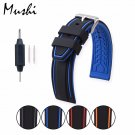 MS Silicone Watchband Black Diver Watch Band Rubber Watch Strap with Brushe