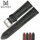 MAIKES New Watch Accessories Genuine Leather Watch strap 18 24mm Watchband