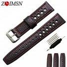 ZLIMSN Genuine Leather Watch Strap 20 22mm Watchband Black Brown Band Men W