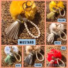 Fur With Tassel & Pearls Charm For Beachkins And Bags