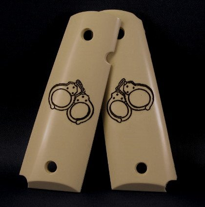 GRIPCRAFTER  SPECIAL ENGRAVED Sim. Ivory Black handcuff 1911 grips
