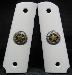 GRIPCRAFTER SIM. IVORY GOLD/SILVER TEXAS STAR 1911 COLT KIMBER GRIPS