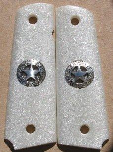 GRIPCRAFTER METALLIC PEARLITE SILVER TEXAS STAR 1911 COLT KIMBER GRIPS