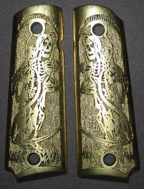GRIPCRAFTER 18KT GOLD CARVED GRIM REAPER 1911 COLT KIMBER GRIPS