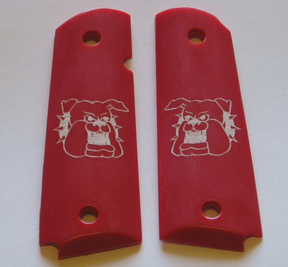 GRIPCRAFTER  ENGRAVED 'Red Bulldog' COLT KIMBER GRIPS