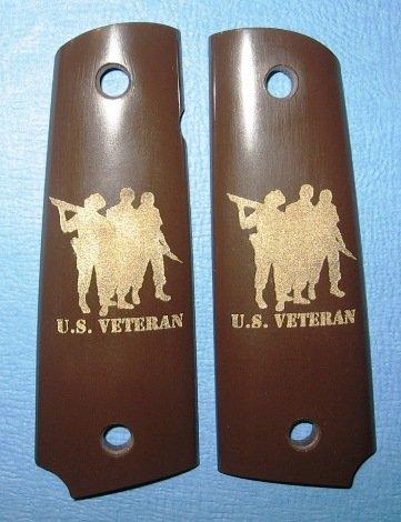 GRIPCRAFTER 18KT GOLD 'THREE SOLDIER' U.S. VETERAN 1911 COLT KIMBER GRIPS