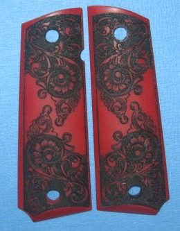 GRIPCRAFTER RED/ BLACK 'SCRIMSHAW' SCROLL 1911 COLT KIMBER GRIPS