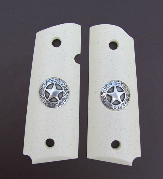 GRIPCRAFTER SIM. IVORY GRITTY GRIP SILVER TEXAS STAR 1911 COLT KIMBER GRIPS