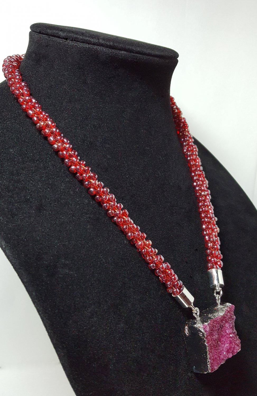 Purple Beaded Kumihimo Braided Necklace with Rectangular Pendant