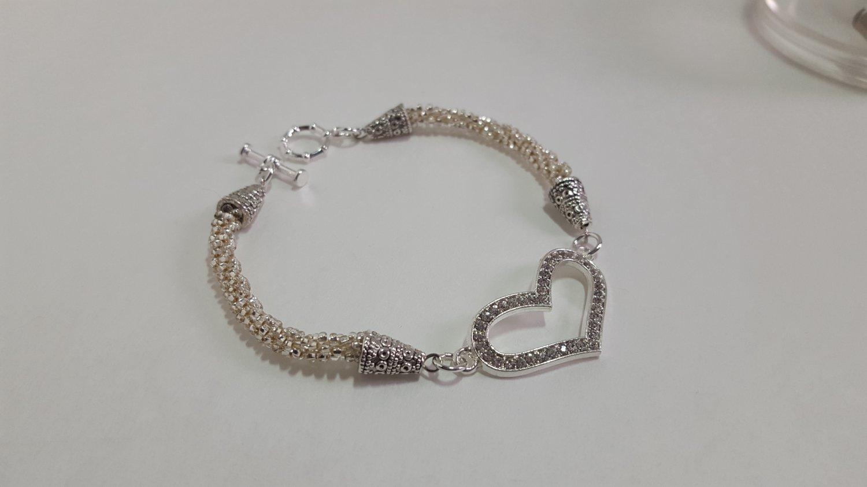 Silver Heart Beaded Bracelets