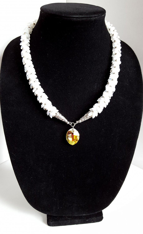 White Magatama Wedding Necklace with Swarovski Pendant