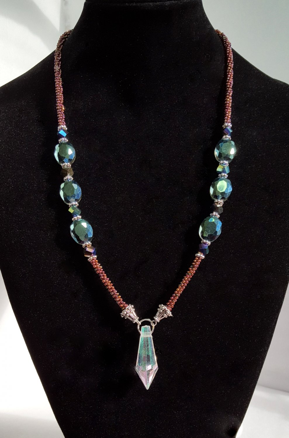 Iridescent Spiked Kumihimo Braided Necklace