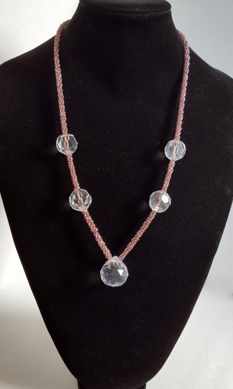Purple Ball Kumihimo Beaded Necklace