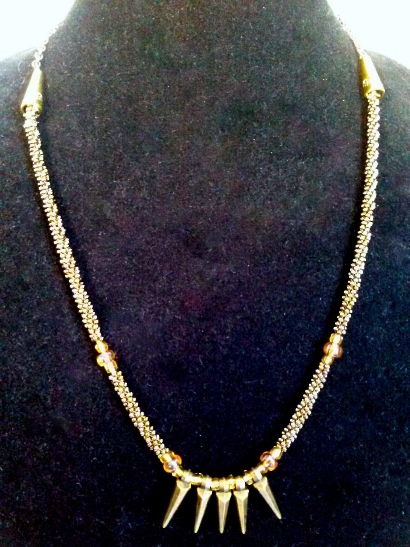 Spike Beaded Necklace. Handmade Kumihimo Braid