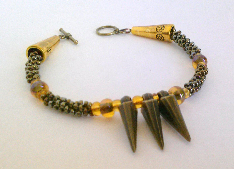 Spike Bracelet. Handmade Kumihimo Braided