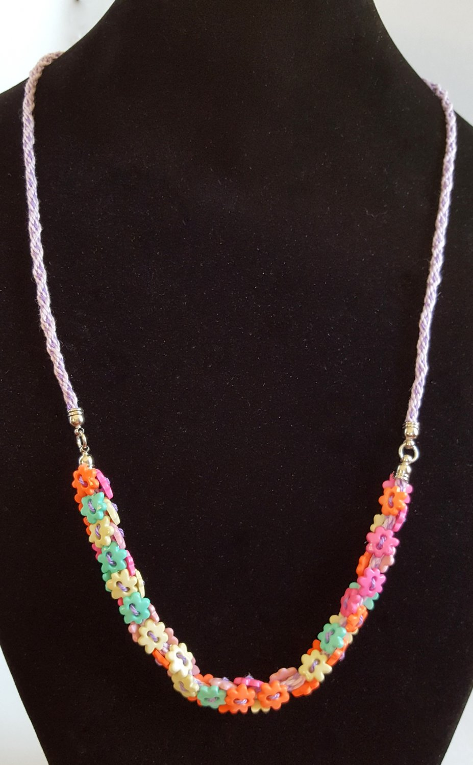 Flower Button Kumihimo Braided Necklace