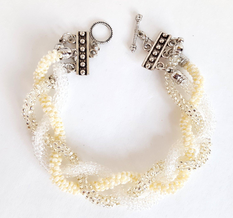 Beaded and Plaited White Kumihimo Bracelet