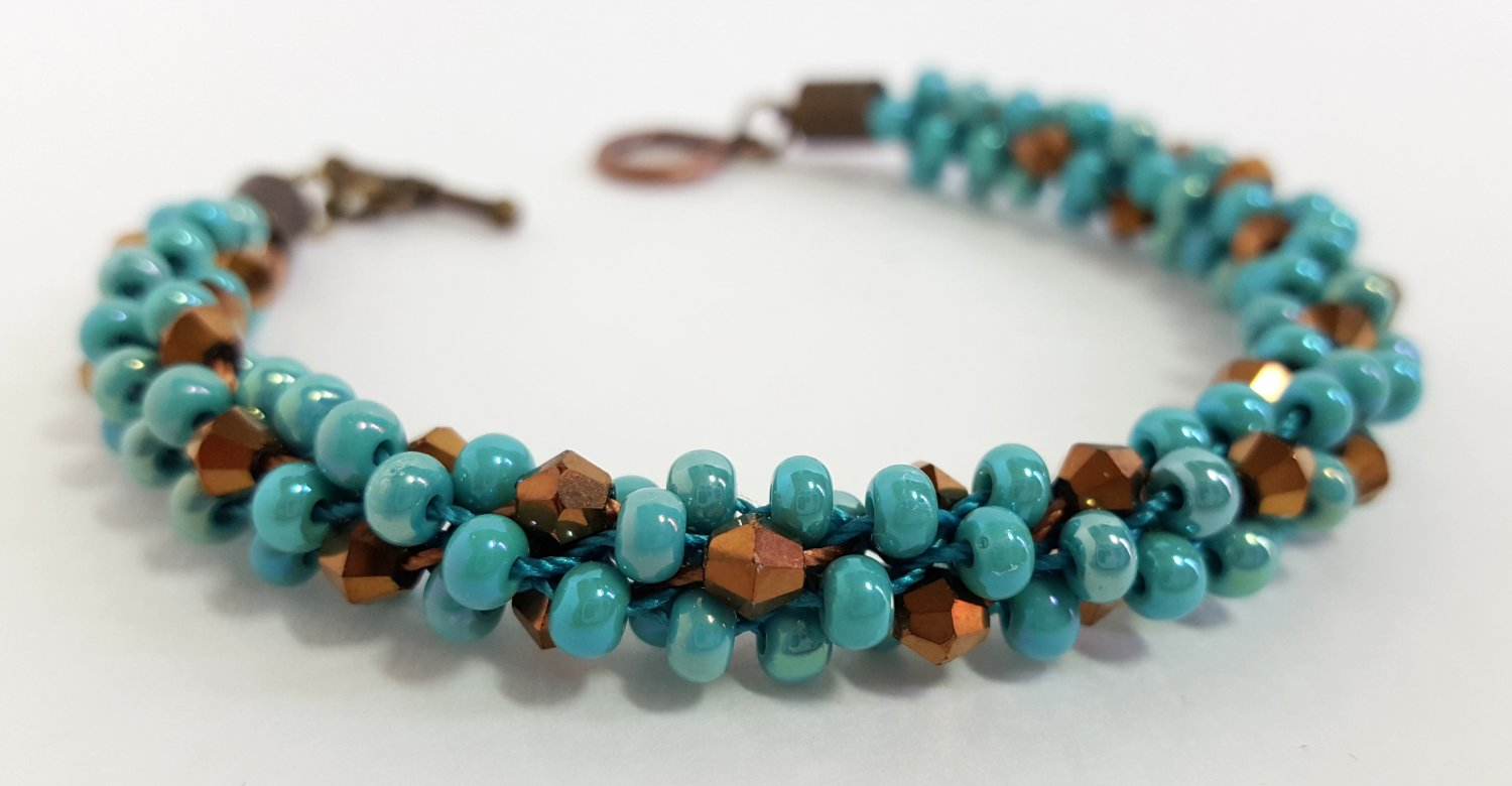 Turquoise and Bronze Beaded Bracelet